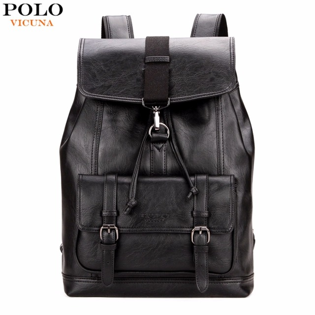 VICUNA POLO Personality Leather Drawstring Backpack Leather Men ...