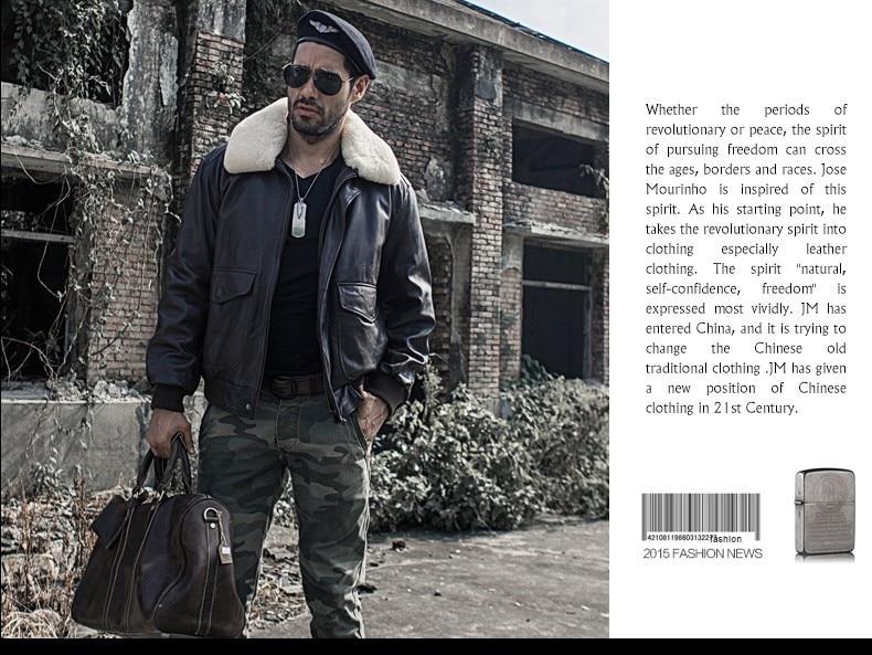 Military air force flight jacket fur collar genuine leather jacket men winter dark brown sheepskin coat pilot bomber jacket