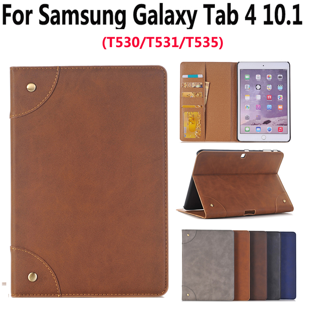 Leather Case For Samsung Galaxy Tab4 Tab 4 10.1 SM T530 T535 Luxury Business Slim Smart Sleep Stand Flip Card Slot Tablet Shell luxury high quality leather case for samsung tab 4 10 1 smart cover for samsung galaxy tab 4 t530 t531 t535 tablet stand case
