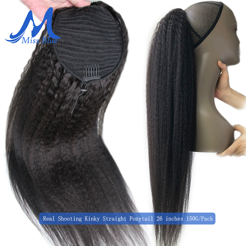 Kinky Straight Brazilian Hair Drawstring Ponytail Clip In Human Hair Extensions Remy Puff Human Hair Ponytail