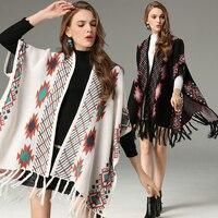2018 New Autumn Women Sweater Coat Bohemia National Style Vintage Jacquard Knitted Cardigan Cloak Fashion Tassel Hem Loose Cape