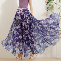 Hot Elegant Fancy Flower Print Skirt Long Women Fashion Peacock Feather Elastic Waist Ultra Long Big