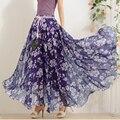 Caliente Elegante de Lujo Estampado de Flores Falda Larga Las Mujeres Pavo real de la Moda Cintura Elástica Ultra-largo Trasero Grande Lleno de La Gasa falda