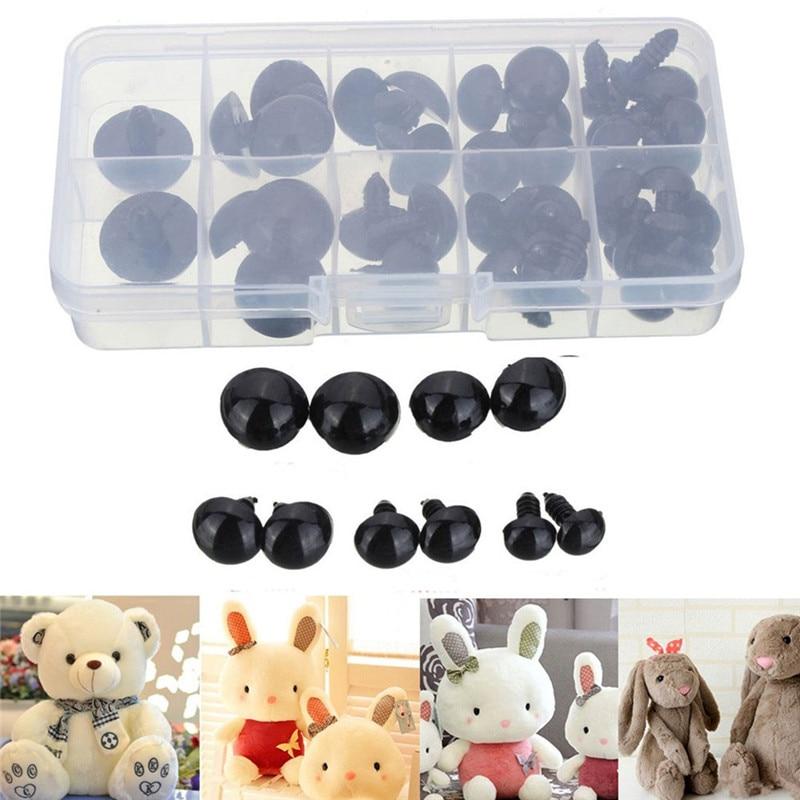 100 Pcs Ronde Zwarte Schroef Eye Plastic Veiligheid Pop Ogen Verschillende Grootte Boxed Hand Maken Diy Ambachtelijke Speelgoed Accessoires