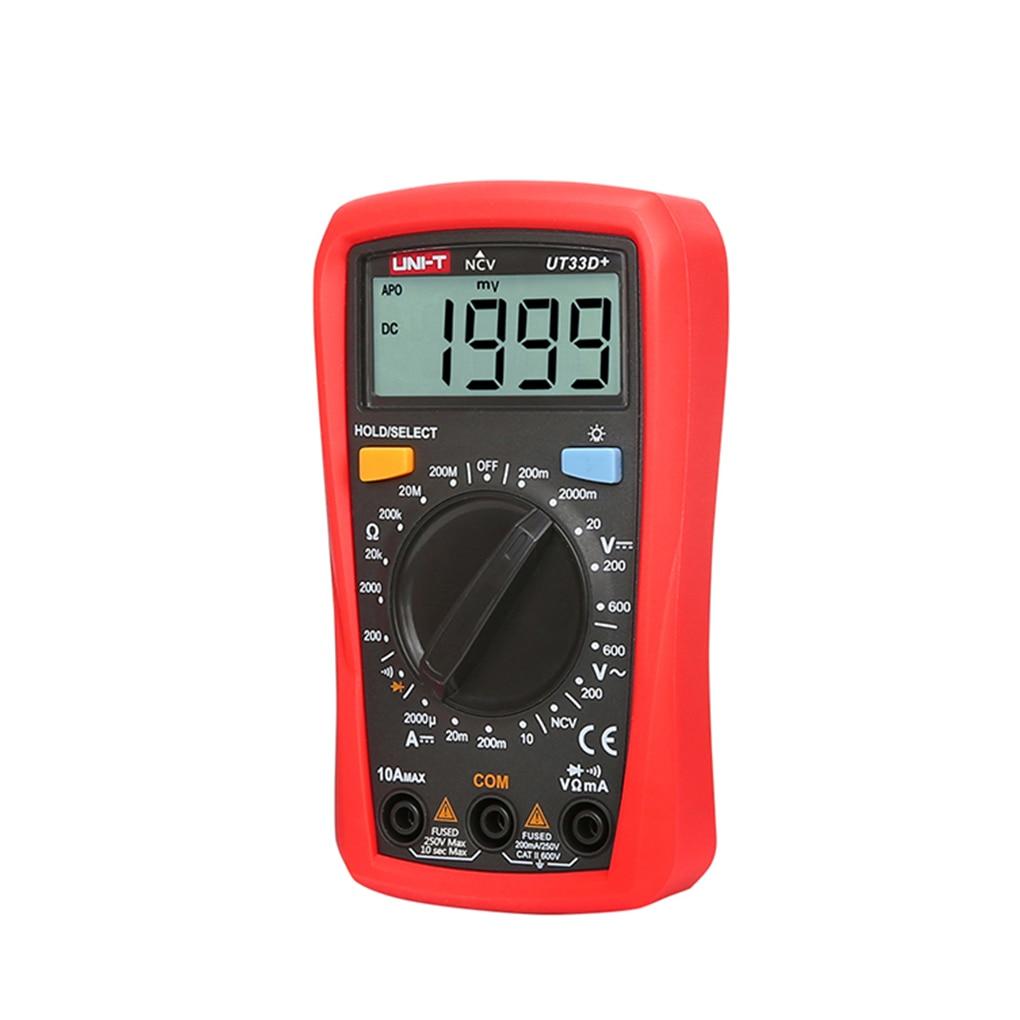 UT33D+ Digital Multimeter Auto Range LCD Backlight NCV Detector Multi Meters AC DC Voltage DC Current Resistance Tester