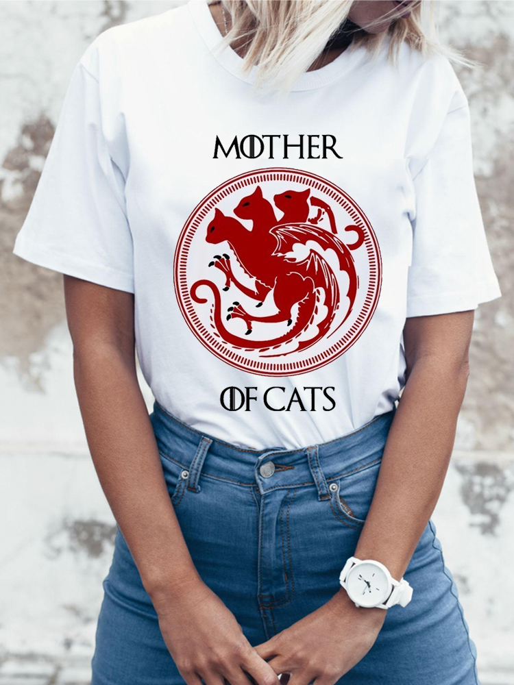 2017 New Fashion Women   T     Shirts   Short Sleeve Slim Lady   T  -  Shirt   Mother Of Cats Printed Tops Funny Casual Tee