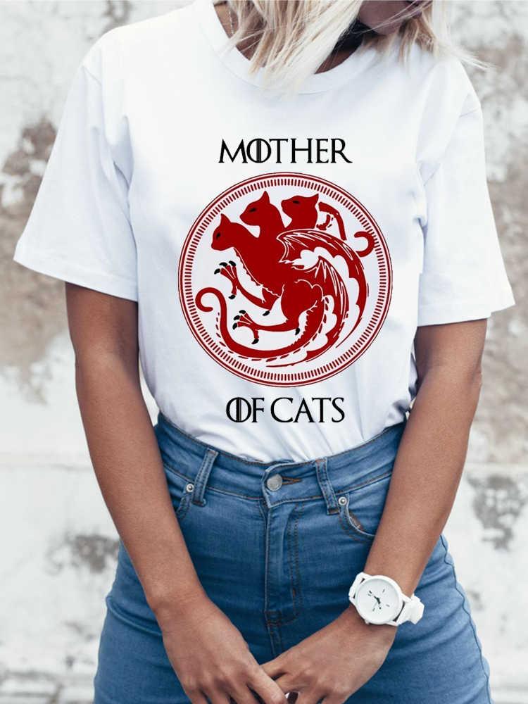 2017 новые модные женские футболки с коротким рукавом, тонкая женская футболка, топы с принтом для мамы и кошки, забавные повседневные футболки