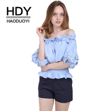 HDY Haoduoyi Solid Blue Women Sexy Sweet Shirts Lace Trim Off Shoulder Half Lantern Sleeve Blouses Female Patchwork Tops Lady