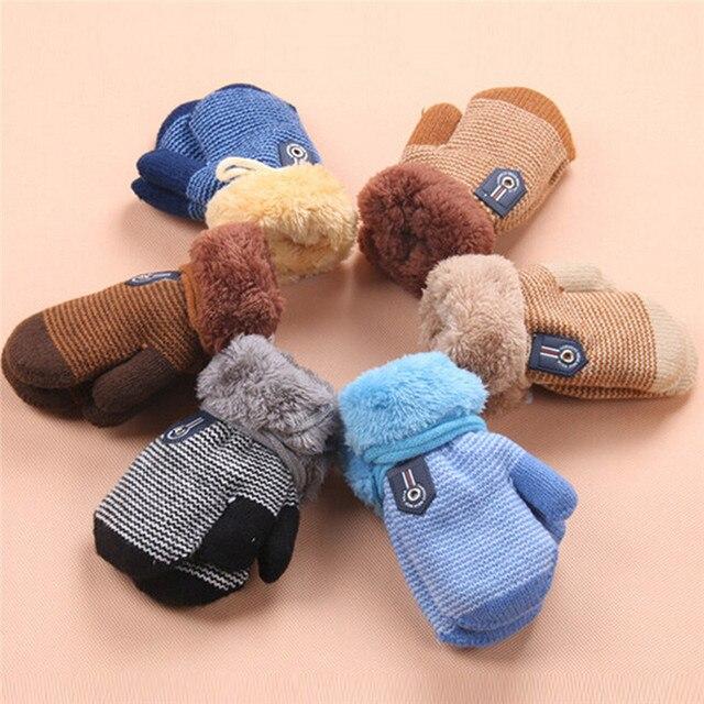6c30a493d Winter Baby Boys Girls Gloves Kids Full Finger Mittens Warm Solid ...