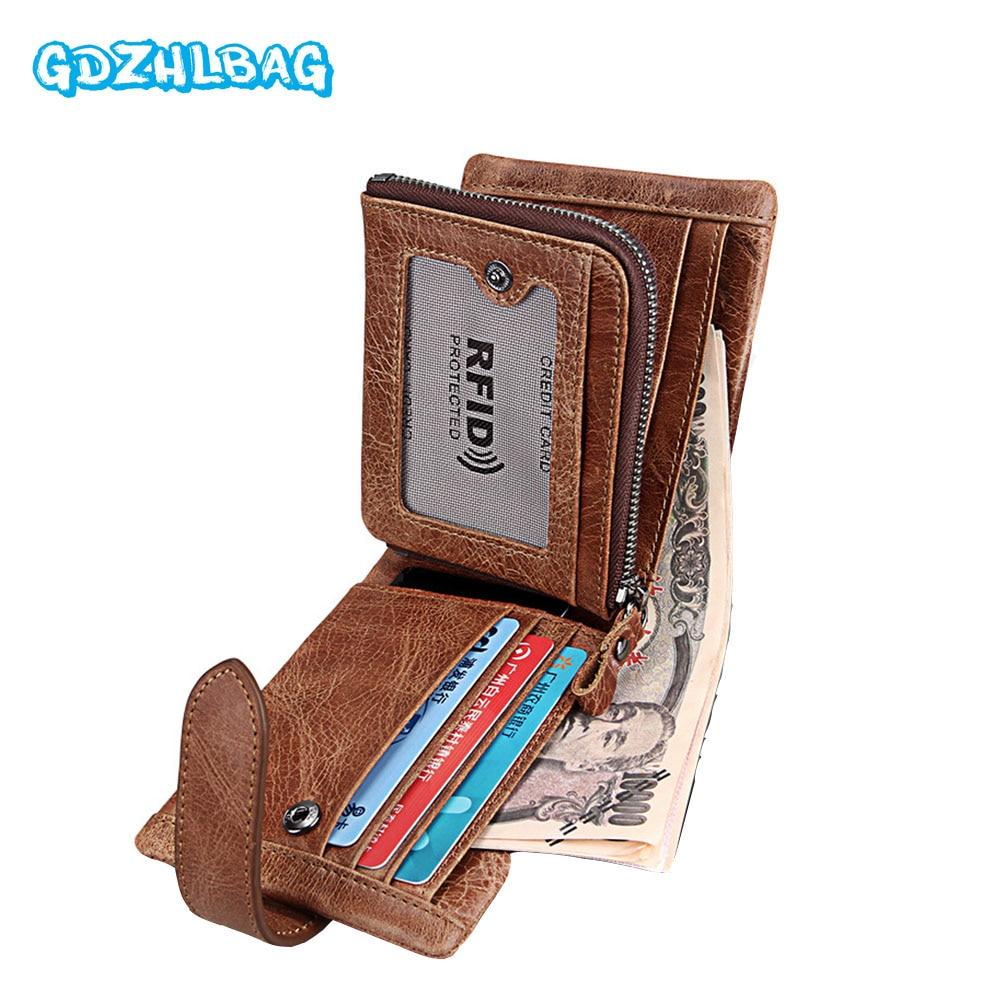 GDZHLBAG Genuine Cowhide Leather Men Wallet Short Coin Purse Small Vintage Wallet Brand High Quality Designer Wallet Rfid B176
