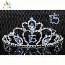 Promo Peacock Star Sweet 15 & 16 Birthday Crystal Blue Heart Quinceanera Tiara CT1545