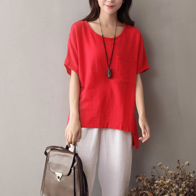 O-neck Short sleeve Linen Blouse Women Solid White Red Casual Summer Blouse Shirt Women Original design Linen Tops Blusas 5068