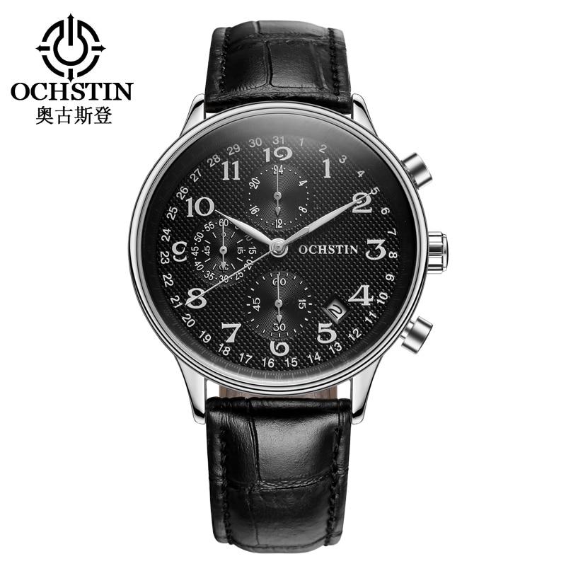 OCHSTIN Men Chronograph Watch Men Sport Watch Leather Strap Quartz Watch Waterproof Date Men s Wrist