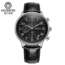 OCHSTIN Men Chronograph Watch Men Sport Watch Leather Strap Quartz-Watch Waterproof Date Men's Wrist Watch relogio masculino
