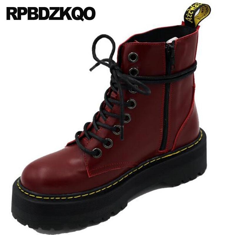 Chaussures De Haute Qualité En Cuir Véritable Combat Automne Marque Femmes Bottes D'hiver D'armée Plat Vin Rouge Plateforme Lacets Cheville Militaire