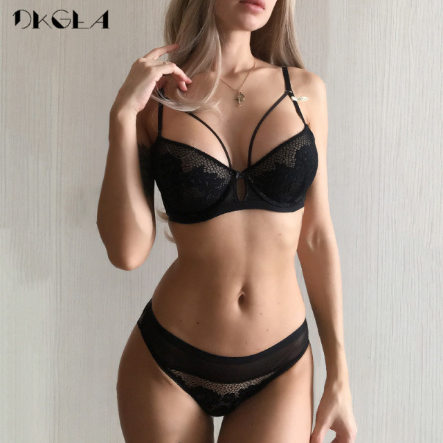 2019 New Bandage Green Lace Bra Set Women Lingerie Embroidery Thick Push Up Brassiere Cotton Underwear Set Sexy Bras Gather 1
