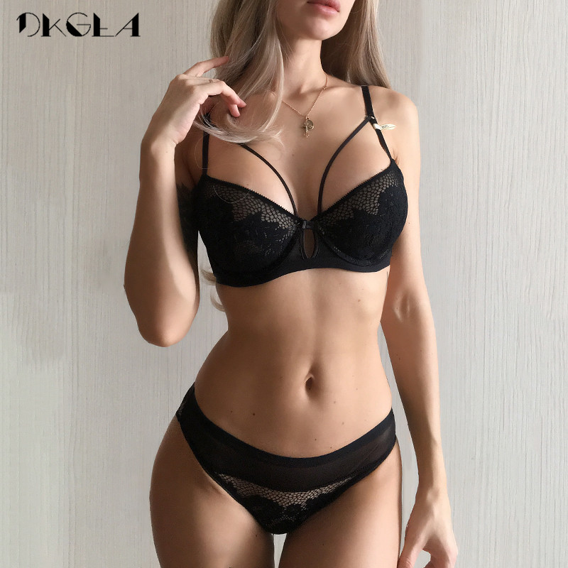 2019 New Bandage Green Lace   Bra     Set   Women Lingerie Embroidery Thick Push Up Brassiere Cotton Underwear   Set   Sexy   Bras   Gather