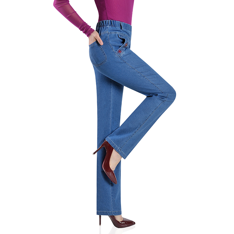 Plus size Casual Pants Women Summer Elastic waist   Jeans   Elasticity Straight Pants Middle aged Female High waist Denim Pants 2655