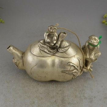 China Miao Silver Zodiac Year Animal Monkey Peach Wine Pot Teapot Teakettle