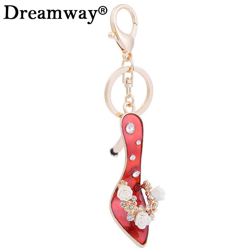 Новые Изысканные высокий каблук Хрустальный цветок горный хрусталь брелки обуви для ключей очарование Для женщин сумка держатель для ключ...