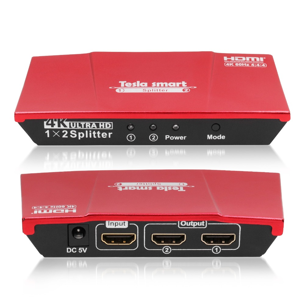 Tesla Smart 1 Pc 2 Monitor Splitter HDMI Splitter 1x2 With Power Adapter HDMI HDTV DVD PS3 Xbox Red Support HDMI 4K@60Hz