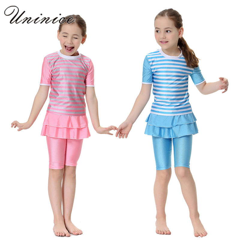 Cute Striped Swimsuit Girls Short Sleeve Children Swimwear Muslim Arabic Swimming Clothes Modest Swimwear Cheap Modest