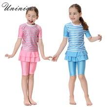 Cute Striped Swimsuit Girls Short Sleeve Children Swimwear Muslim Arabic Swimming Clothes Modest Swimwear Cheap Modest Swimsuits
