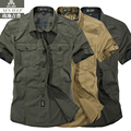 Camiseta del verano de Los Hombres Famosos de la Marca de Algodón ASFJEEP Caqui Militar T-Shirt de Manga Corta Camisa Vetement Omme Hombres Sociales TS1391