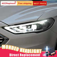 2 Pcs LED Scheinwerfer Für Ford Fusion/Mondeo 17-19 led auto lichter Engel augen xenon HID KIT nebel lichter LED Tagfahrlicht