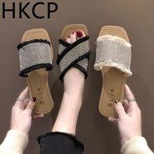 HKCP 2019 summer new female cool drag Korean version retro fashion water drill word outside wear beach shoes C163