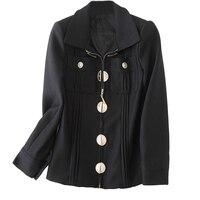 New 2017 Autumn European Goods Brand Small Fragrant Black Long Sleeved Short Coat Lady European Fashion