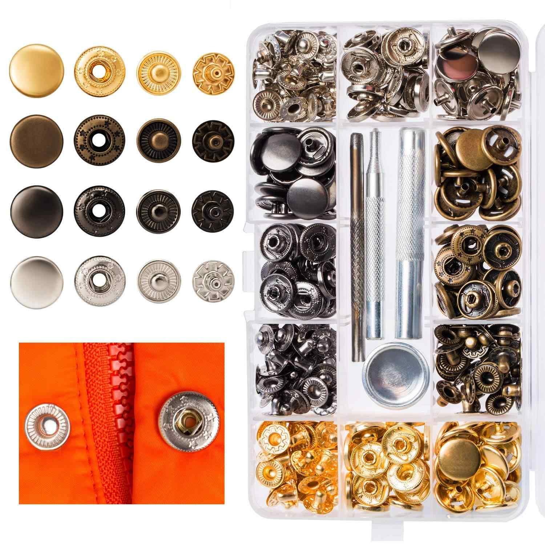 6 цветов 4 в 1 застежка для одежды защелкивающаяся металлическая кнопка-застежка набор инструментов Ткань Кнопка Ремесло для одежды украшения DIY 120 шт