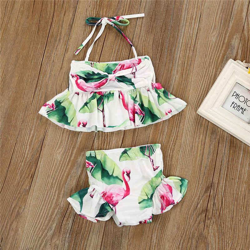 2019 العلامة التجارية جديد الوليد طفل الرضيع الطفل طفل طفلة فلامنغو ملابس السباحة بيكيني 2 Pcs مجموعة الاستحمام دعوى زي 1-6 T