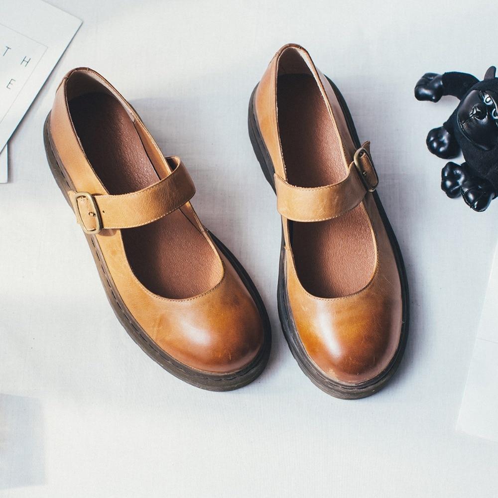 Espadrilles Loisirs Gradient En Cuir Orteil De Métal Appartements Véritable Boucle Mary Pour Jane Femmes Chaussures brown Vintage Black Confortables Rétro p7SxPq