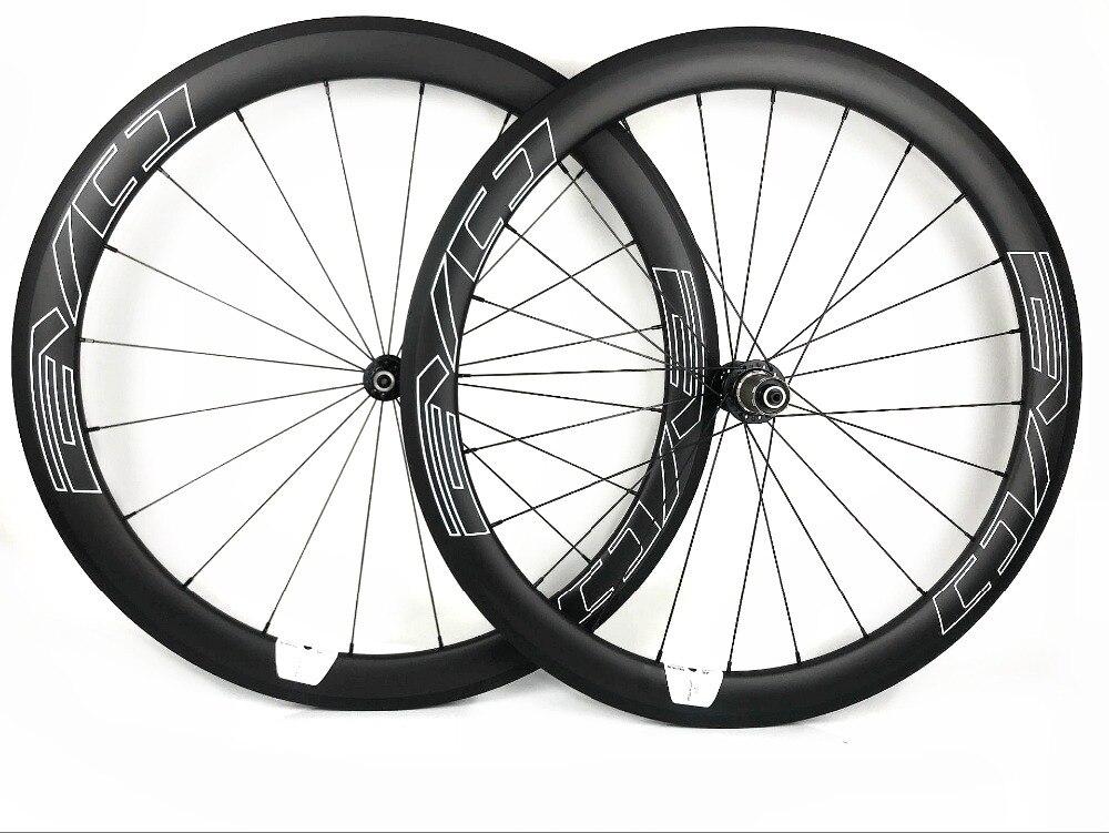 EVO blanc stickers 700C vélo de Route carbone roues 50mm profondeur 25mm largeur pneu/Tubulaire Vélo De Route de carbone roues UD mat
