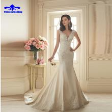 2017 New Satin Wedding Dresses ivory lace appliques mermaid wedding dress trumpet V-neck Backless Court Train bridal gown