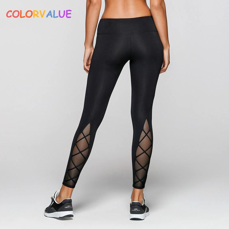 Colorvalue Back Cross Mesh Yoga Leggings Women Elastic Mid Waist Fitness Leggings Quick Dry Athletic Running Tights Activewear
