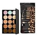 15 Colors Contour Face Cream Makeup Concealer Palette + 12pcs Leopard Brush