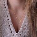 2016 новых мужчин модные ожерелья Простой позолоченный Круг Кулон колье ожерелье дамы короткий Ключицы Цепи Оптовая