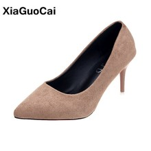 Four Seasons Women Pumps Newest Flock High Heels Female Single Shoes Sexy Ladies Office Footwear Pointed Toe Thin Heels Sandals