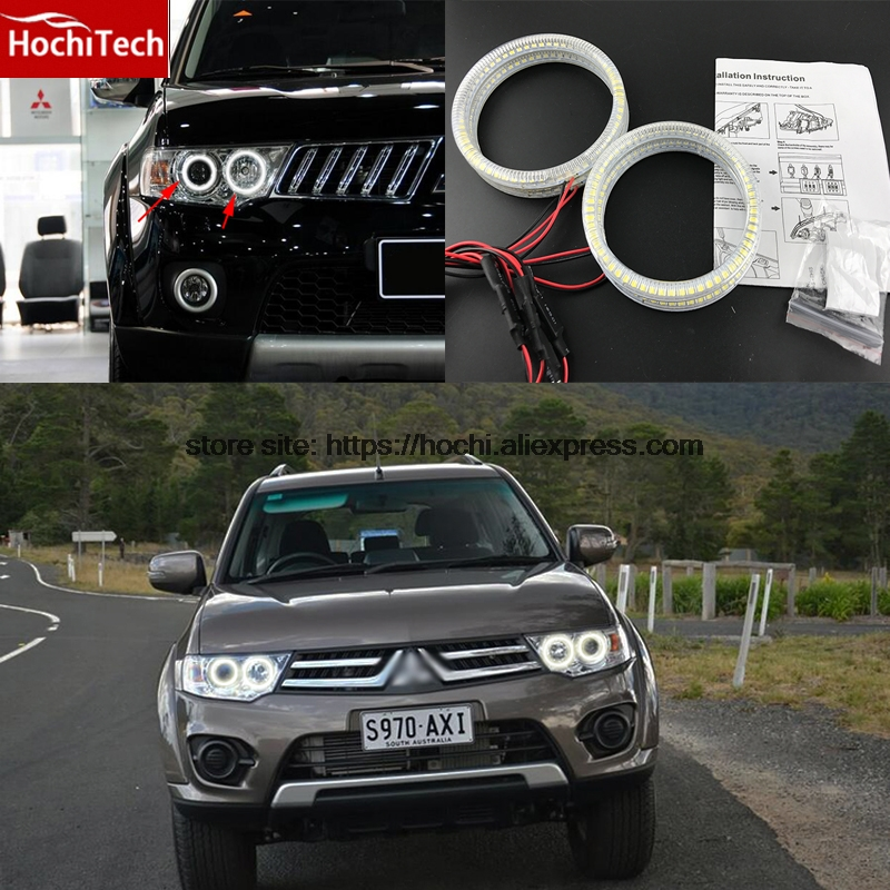 HochiTech Ultra bright SMD white LED angel eyes halo ring kit  DRL for Mitsubishi Challenger Montero Sport 2008-2016 лодка intex challenger k1 68305