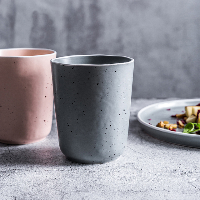 Tasse à café en céramique nordique   Minimaliste, style japonais créatif bouilloire à thé Couple tasse à eau, tasse Point de glaçure conteneur 400ml vaporisateur