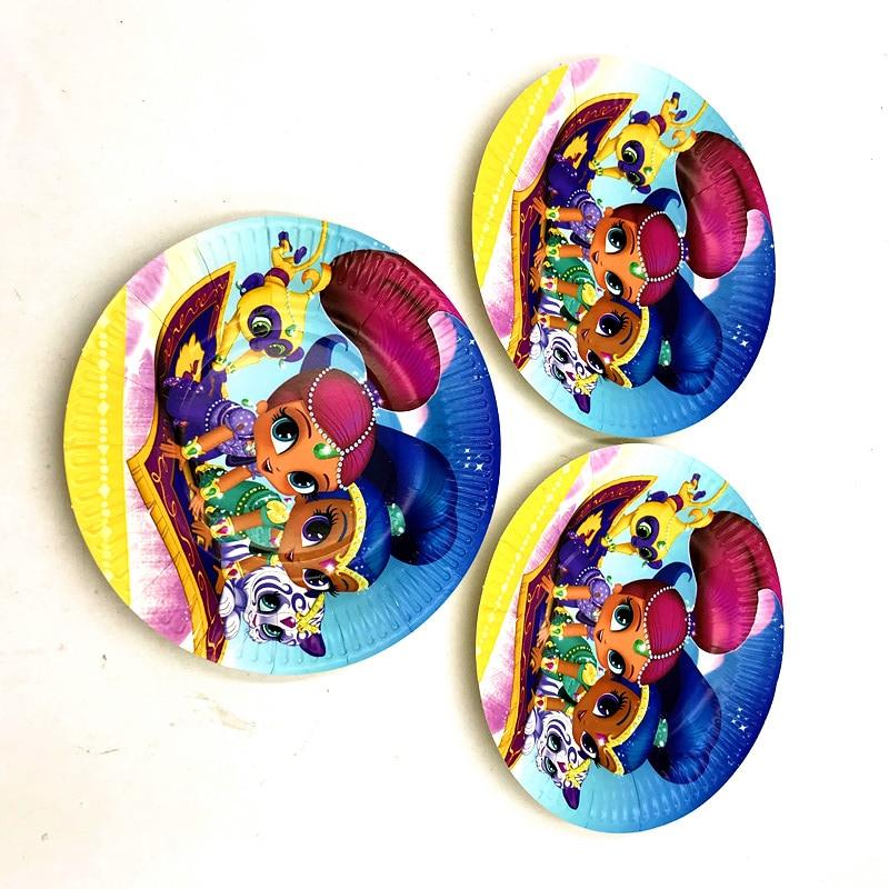 10pcs Lot Shimmer Shine Dishes Plates Baby Shower Shimmering Shine
