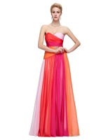 Ombre Design Women Sweetheart Blue Red Colorful Evening Dress Plus Size Chiffon Long Party Dresses Prom