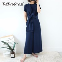 TWOTWINSTYLE Lace Up Jumpsuits For Women Short Sleeve O Nenck High Waist Ankle Length Wide Leg