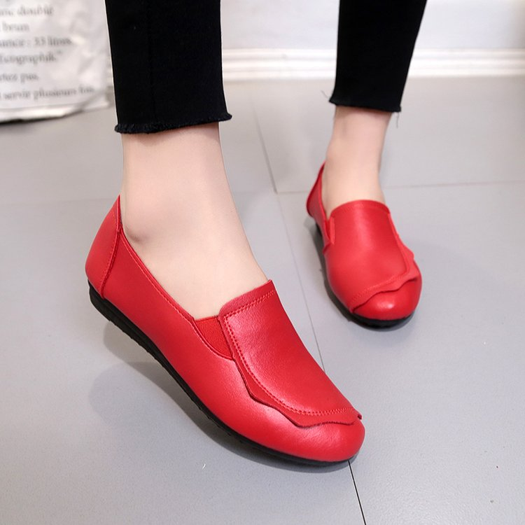 18 Soft Women Shoes Flats Moccasins Slip on Loafers Genuine Leather Ballet Shoes Fashion Casual Ladies Shoes Footwear E003 7