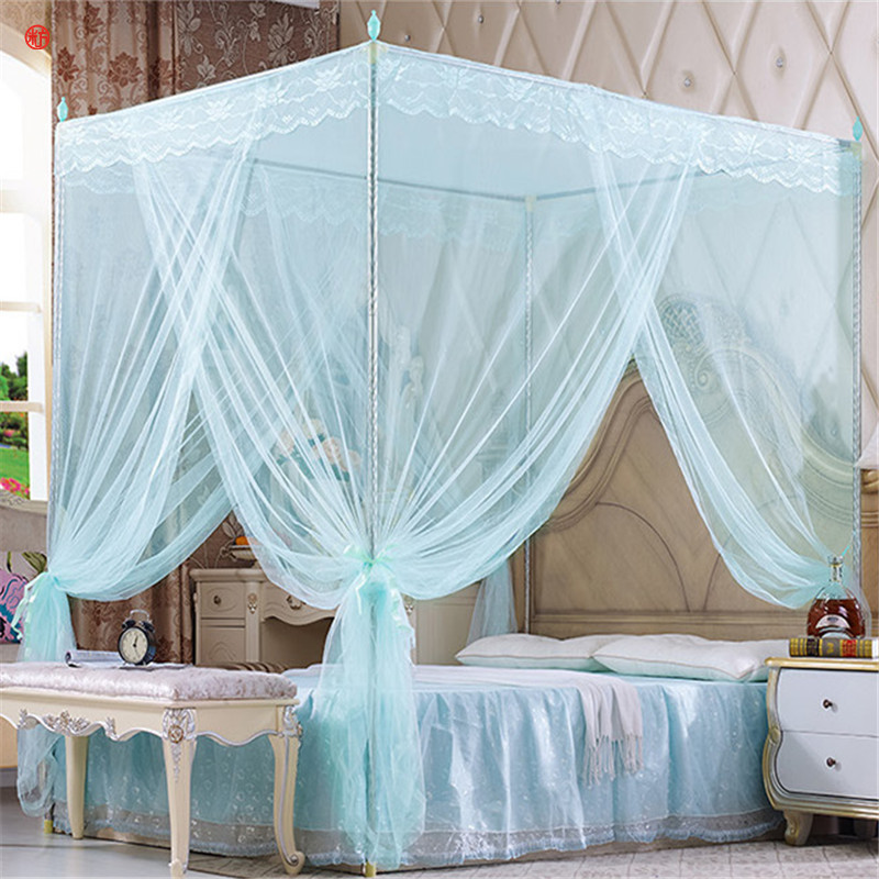 Quadrate mosquito net palace net iron tube frame floor-nets romantic lace bed netting with three-door moustiquaire blue beige