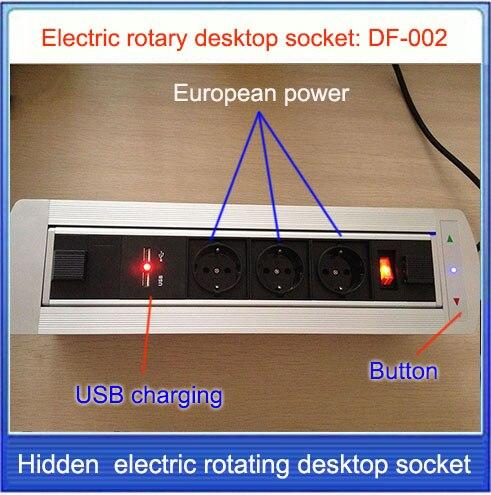 EU power /Electric rotation Desktop socket /hidden/ multimedia USB charging socket/Can choose function module EU/US/Plug/ DF-002