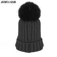 Fur Knitted Winter Hats Cap For Children Knitted Beanies Free Shipping Winter Fur Hats And Cap