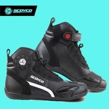 Hot Original de SCOYCO Motocicleta Botas de Los Hombres de Cuero de Moda Casual Desgaste Transpirable Protección antideslizante Botas De Motociclista